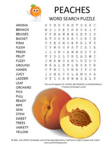 Peaches Word Search Puzzle