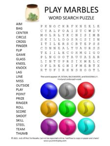 Play Marbles Word Search Puzzle