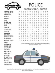 Police Word Search Puzzle