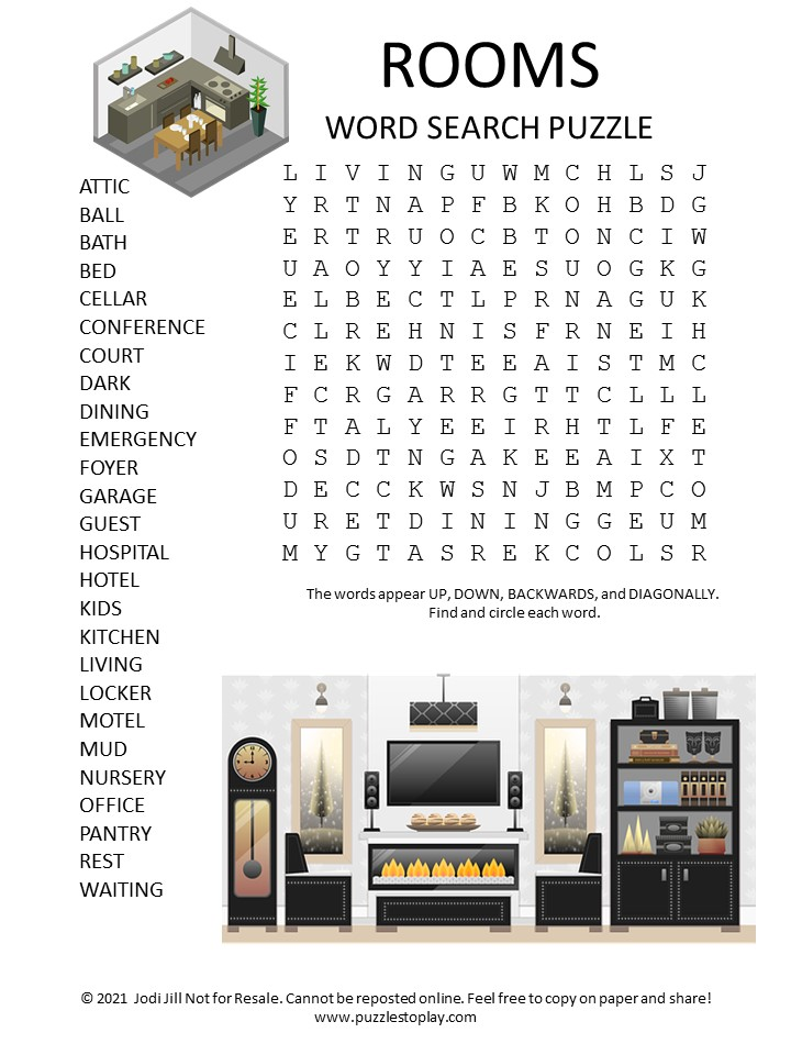 Rooms Word Search Puzzle