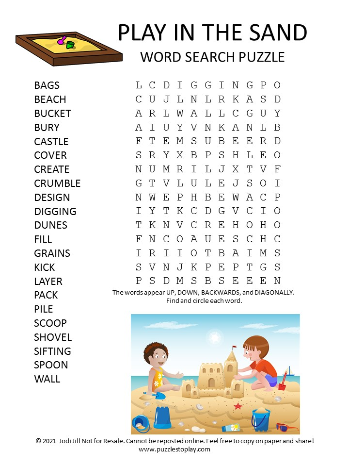Sand Word Search Puzzle