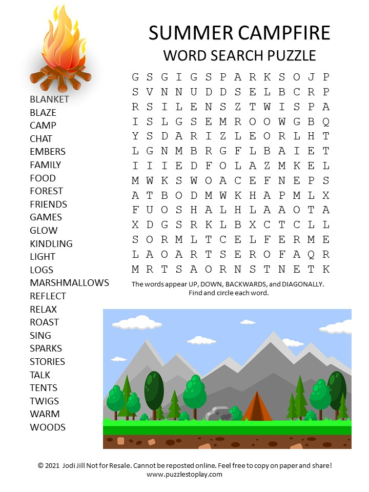 Summer Campfire Word Search Puzzle