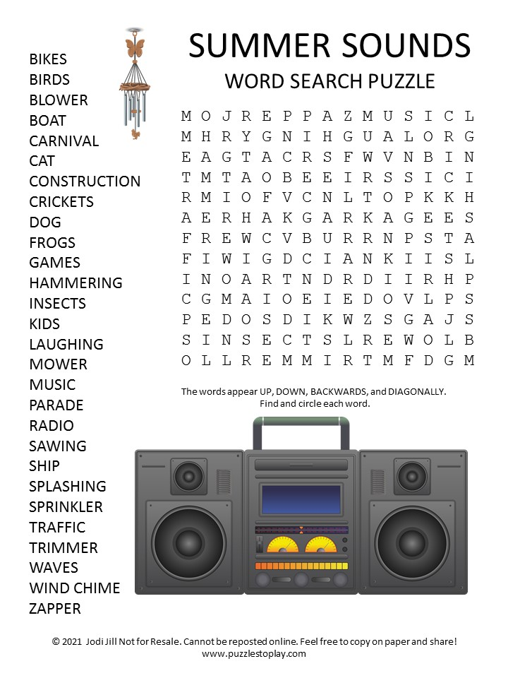 Summer Sounds Word Search Puzzle