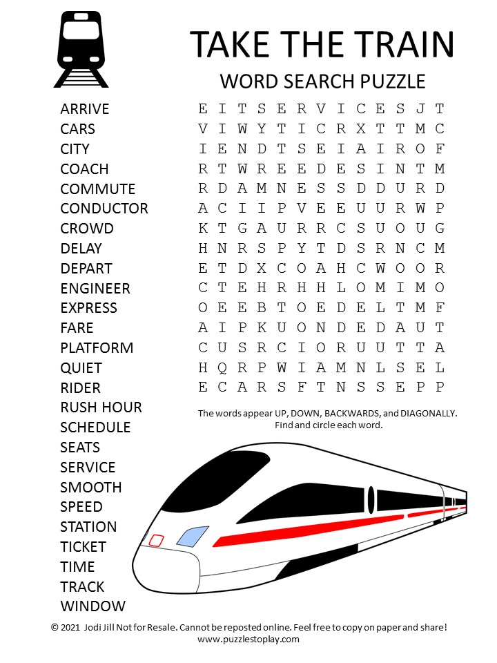 Take the Train Word Search Puzzle