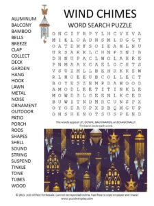 Wind chimes Word Search Puzzle