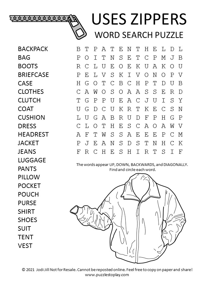 Zippers Word Search Puzzle