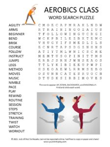 Aerobics Class Word Search Puzzle