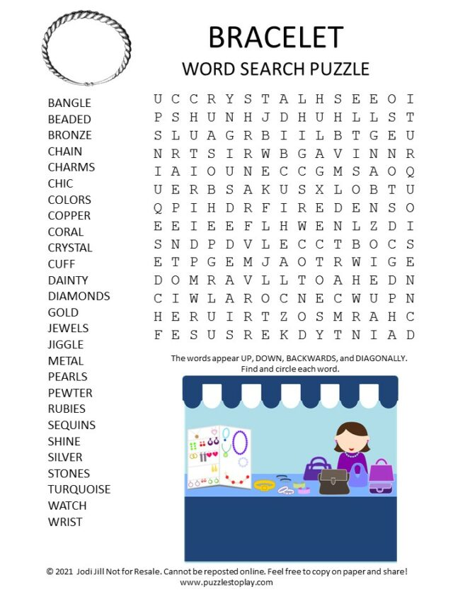 Bracelet Word Search Puzzle - Puzzles to Play