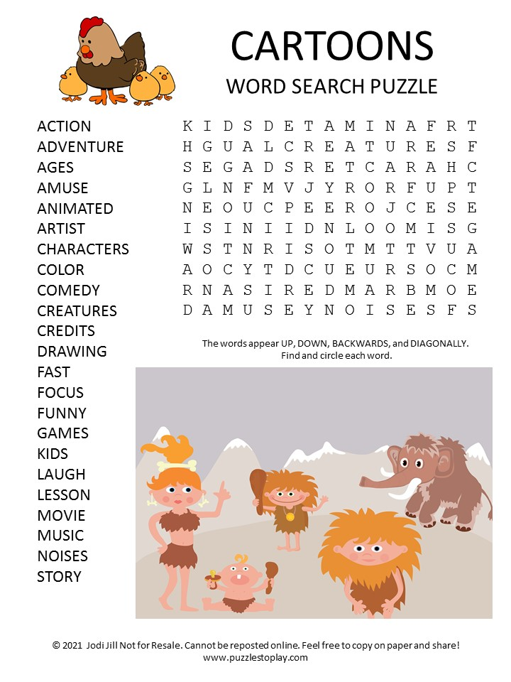 Cartoons Word Search Puzzle