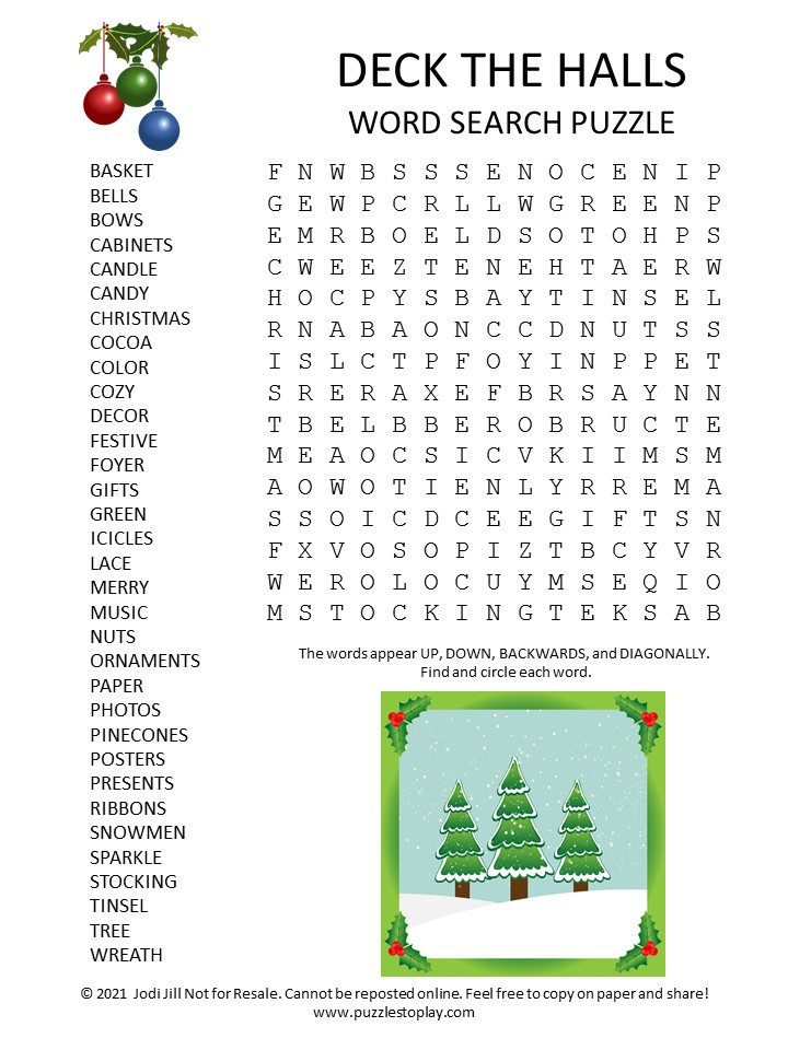 Deck the Halls Word Search Puzzle