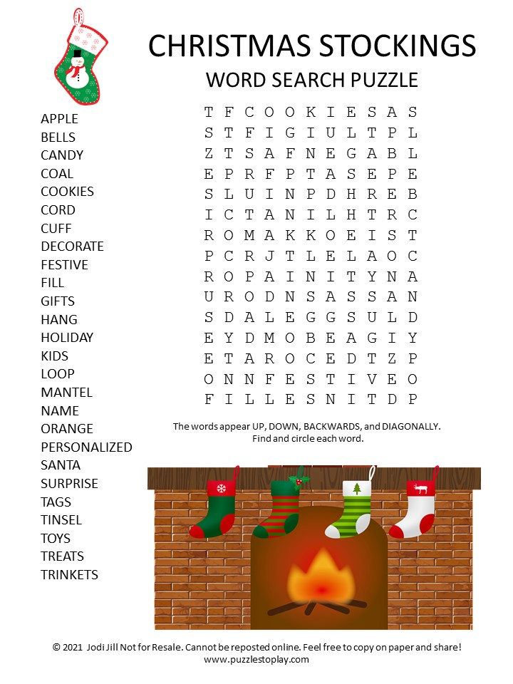 Hanging Stockings Word Search Puzzle