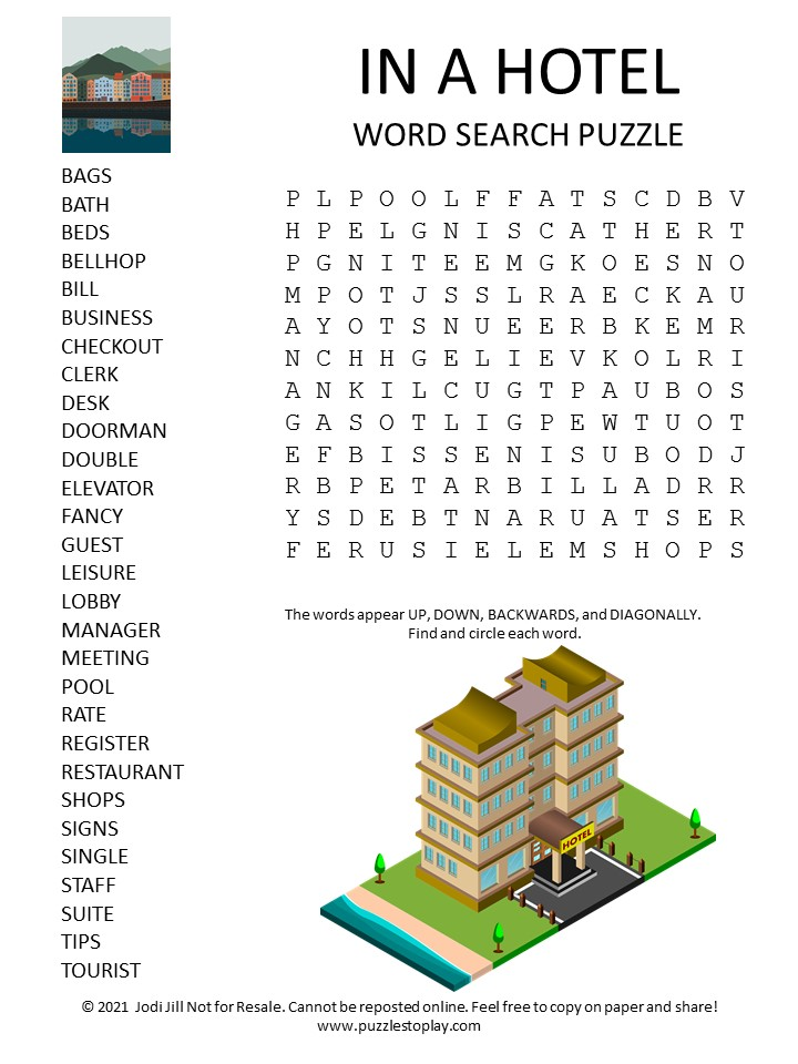 Hotel Word Search Puzzle