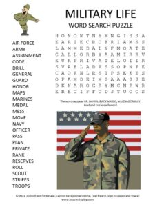 Military Life Word Search Puzzle