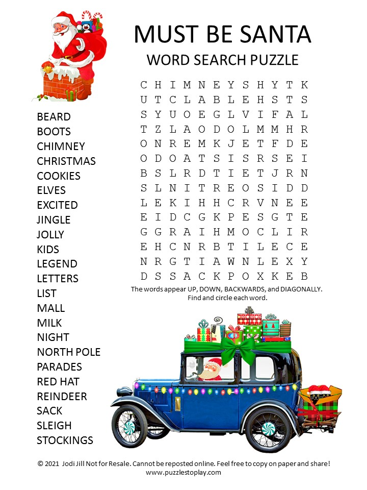 Must Be Santa Word Search Puzzle