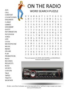On the Radio Word Search Puzzle