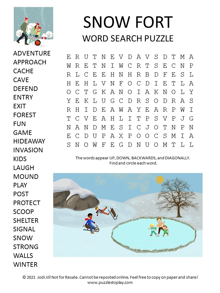 Snow Fort Word Search Puzzle