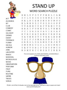 Stand Up Word Search Puzzle