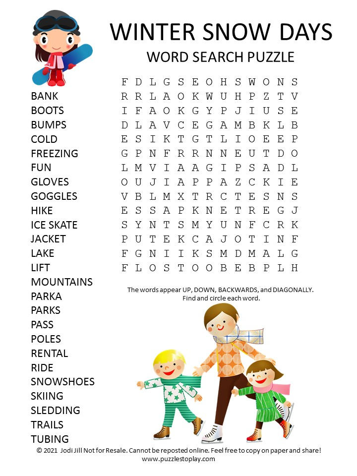 Winter Snow Days Word Search