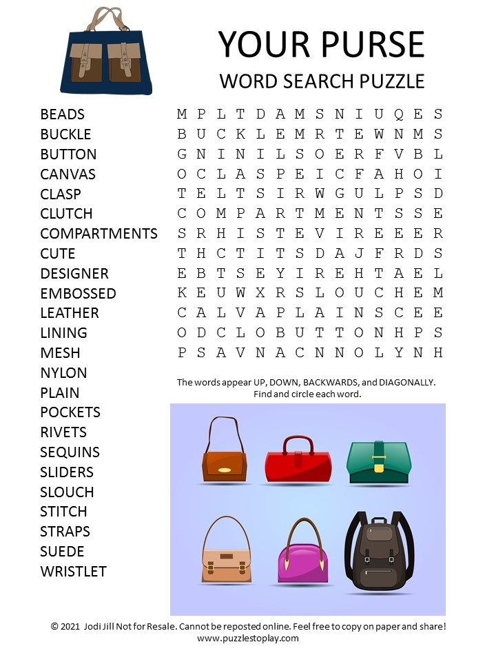 Your Purse Word Search Puzzle