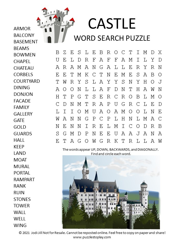 Castle Word Search Puzzle