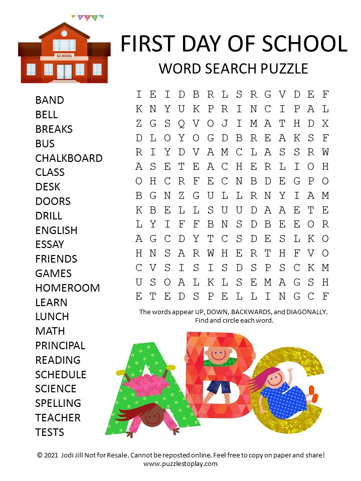 First Day of School Word Search Puzzle
