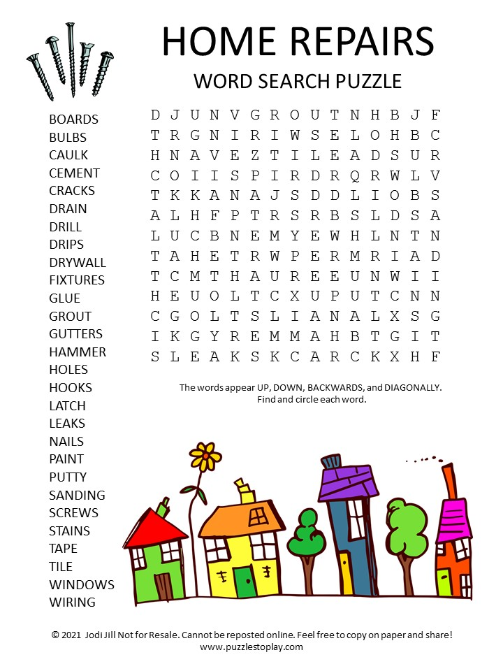 Home Repairs Word Search Puzzle