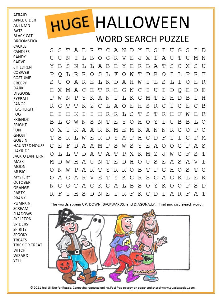 Huge Halloween Word Search Puzzle for kids