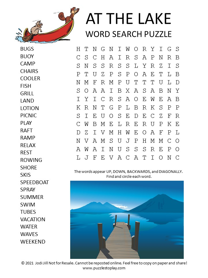 Lake Word Search Puzzle