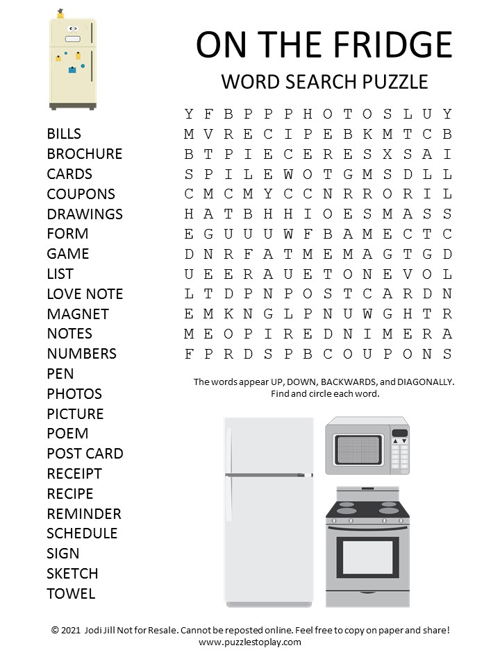 On the Refrigerator Word Search Puzzle