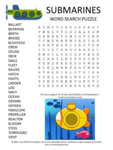 Submarines Word Search Puzzle