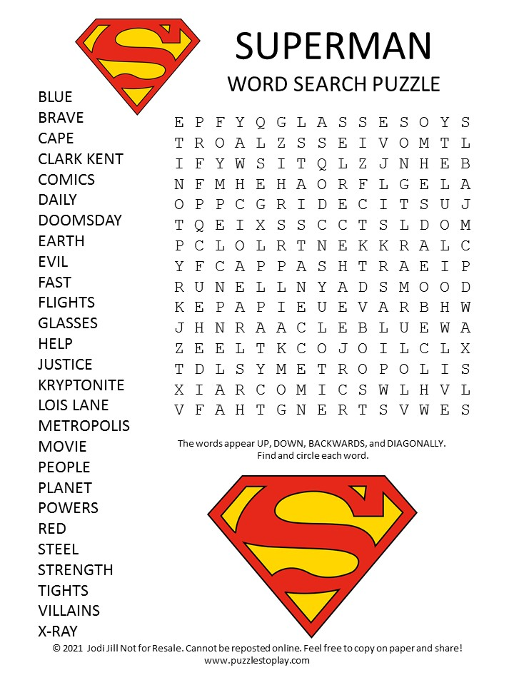 Superman Word Search Puzzle