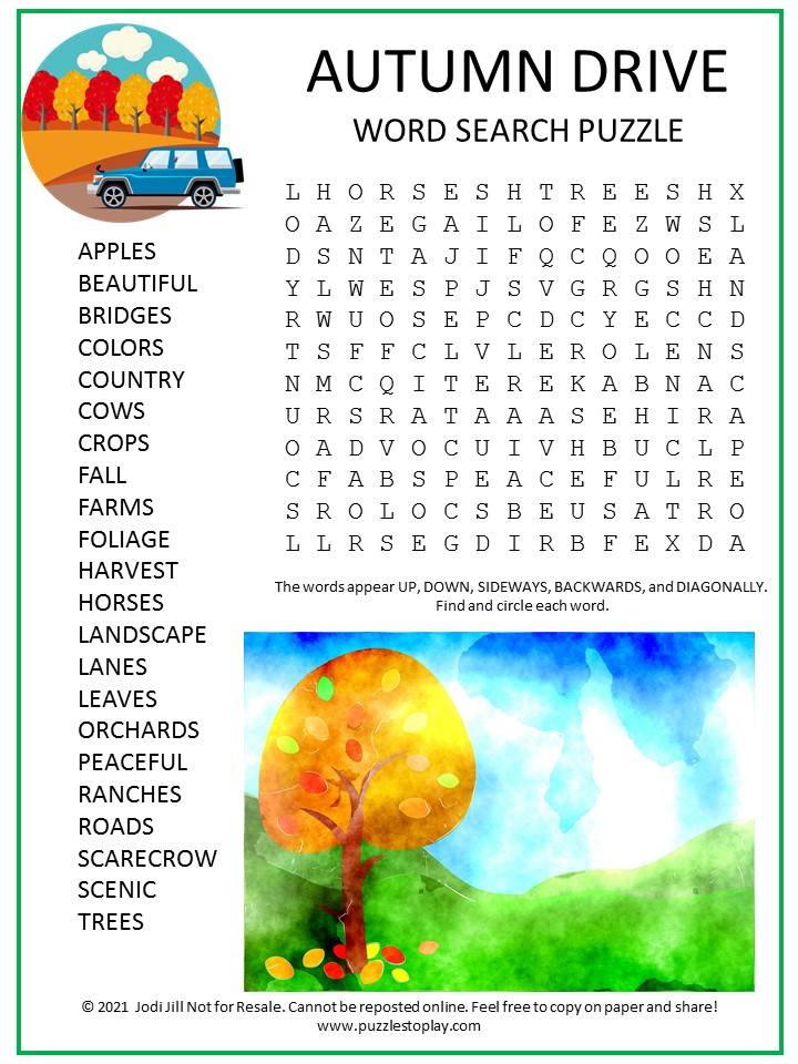 Autumn Drive Word Search Puzzle