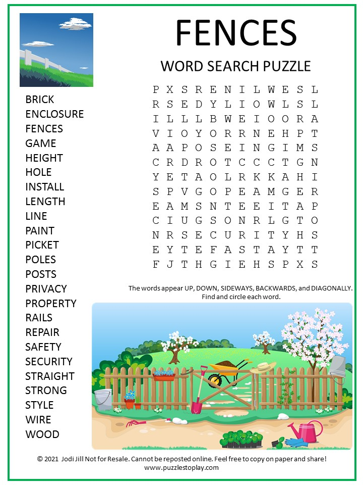 Fences Word Search Puzzle