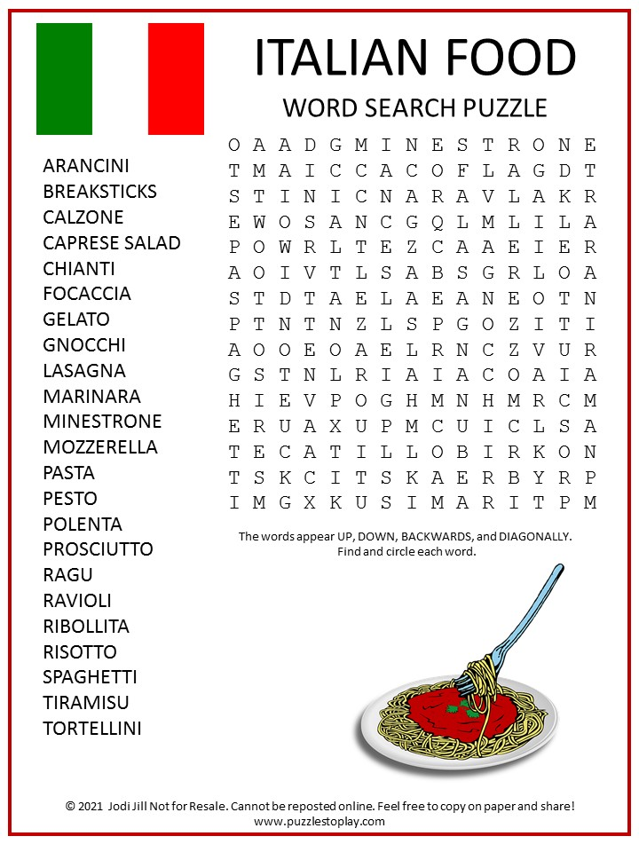 Italian Food Word Search Puzzle