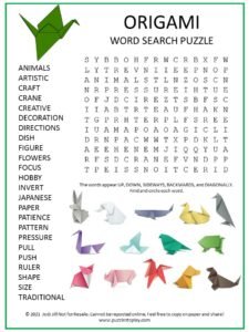 Origami Word Search Puzzle
