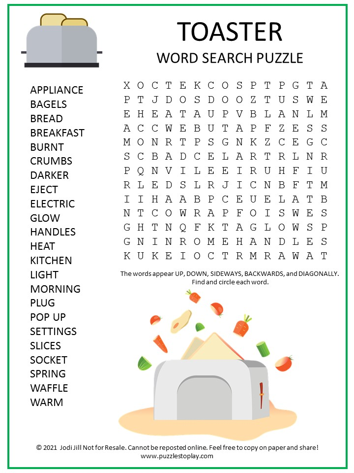 Toaster Word Search Puzzle