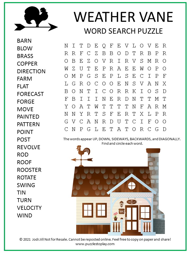Weather Vane Word Search Puzzle