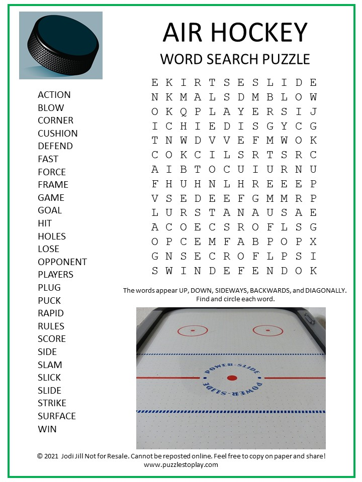 Air Hockey Word Search Puzzle