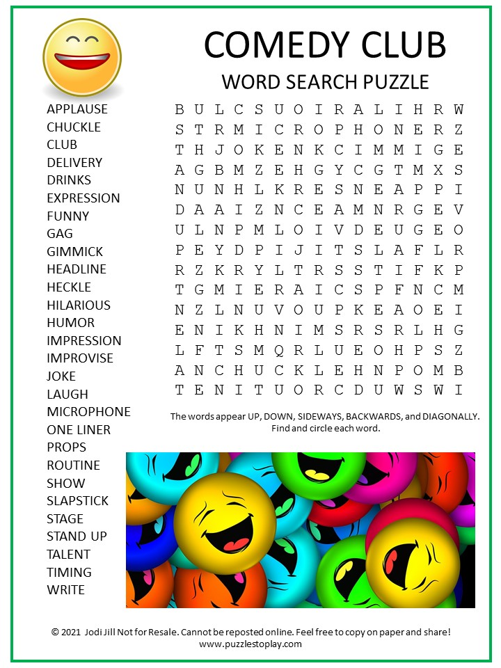 Comedy Club Word Search Puzzle