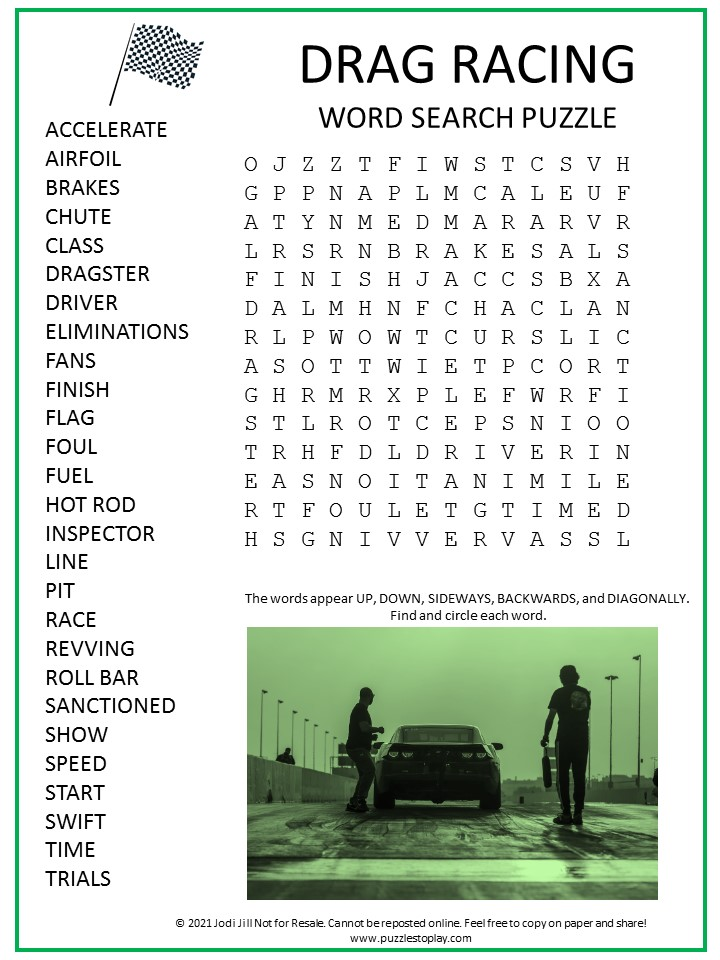 Drag Racing Word Search Puzzle