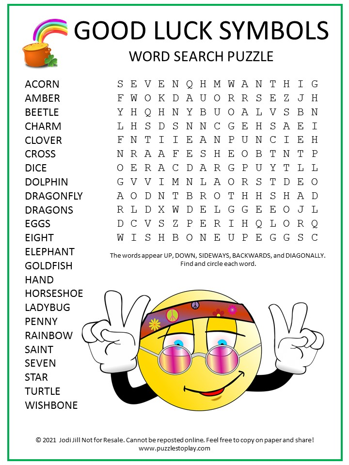 Good Luck Symbols Word Search Puzzle