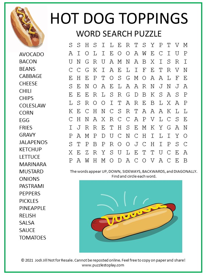 Hot Dog Toppings Word Search Puzzle