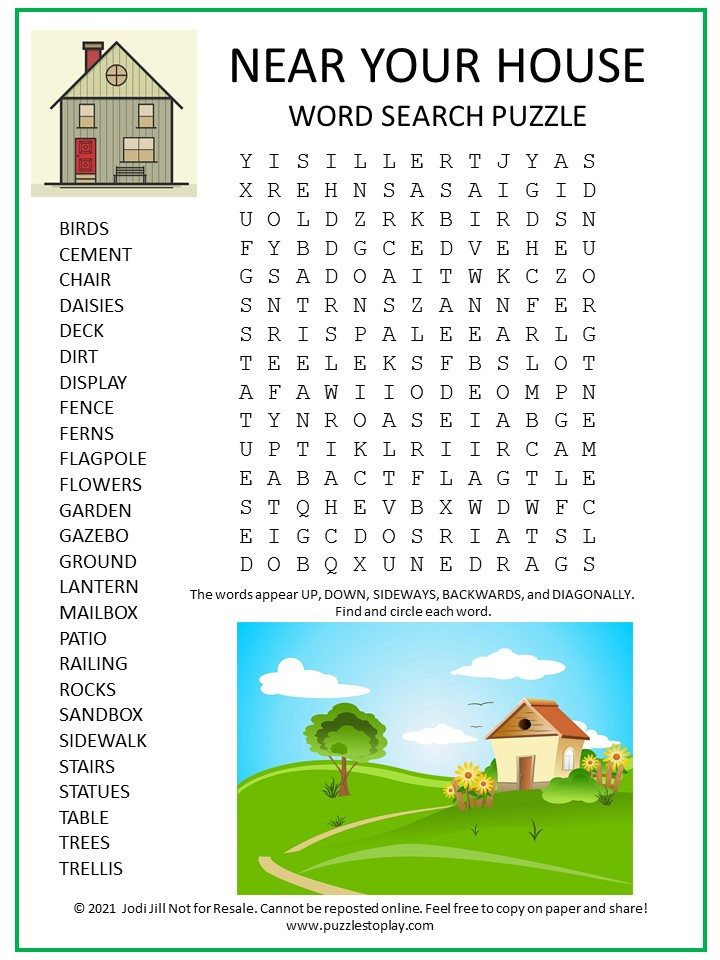 Near Your House Word Search Puzzle