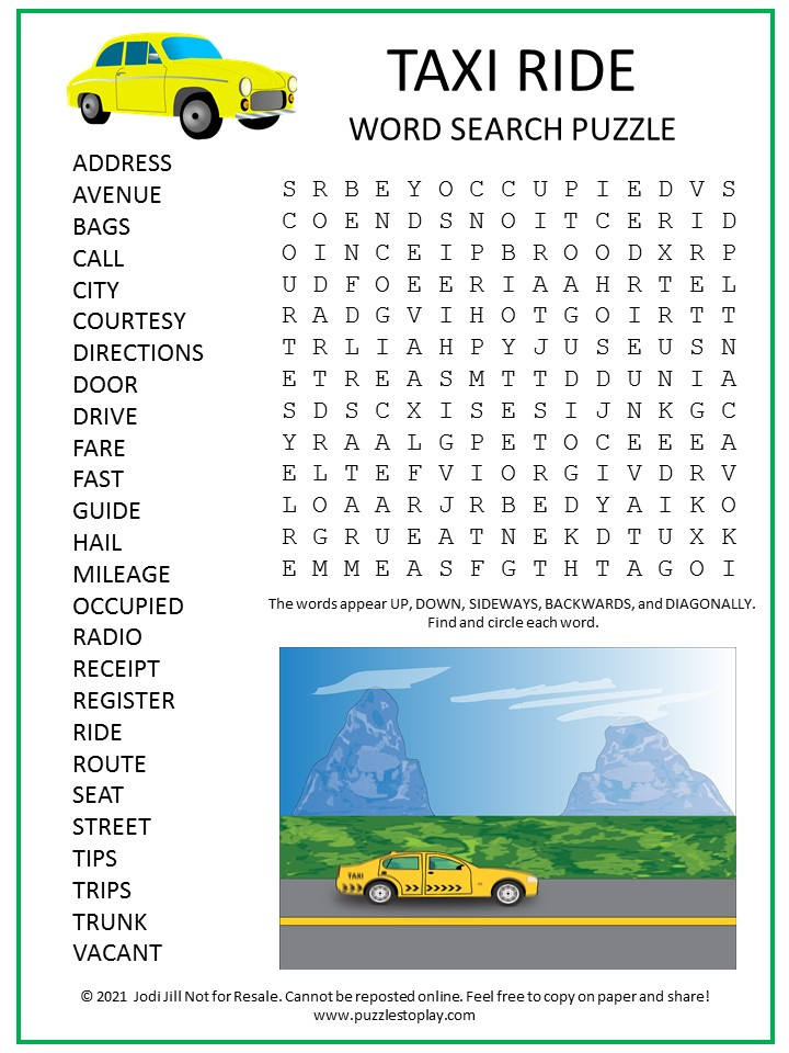 Taxi Ride Word Search Puzzle
