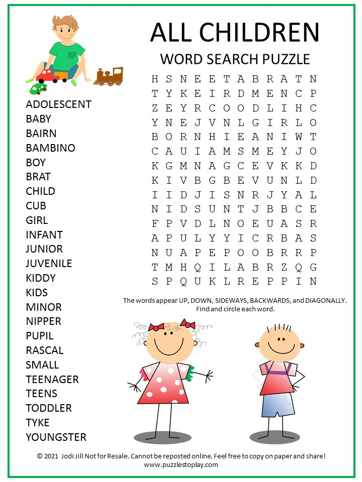 Children Word Search Puzzle