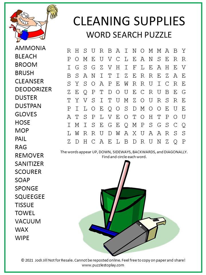 Cleaning Supplies Word Search Puzzle