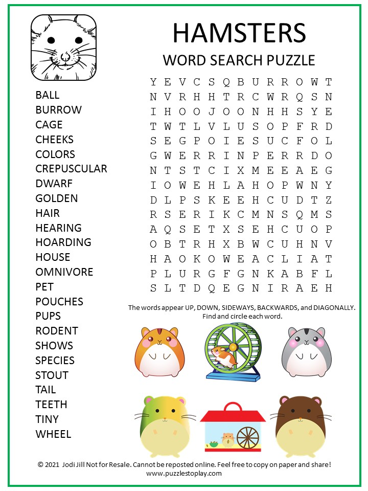 Hamster Word Search Puzzle