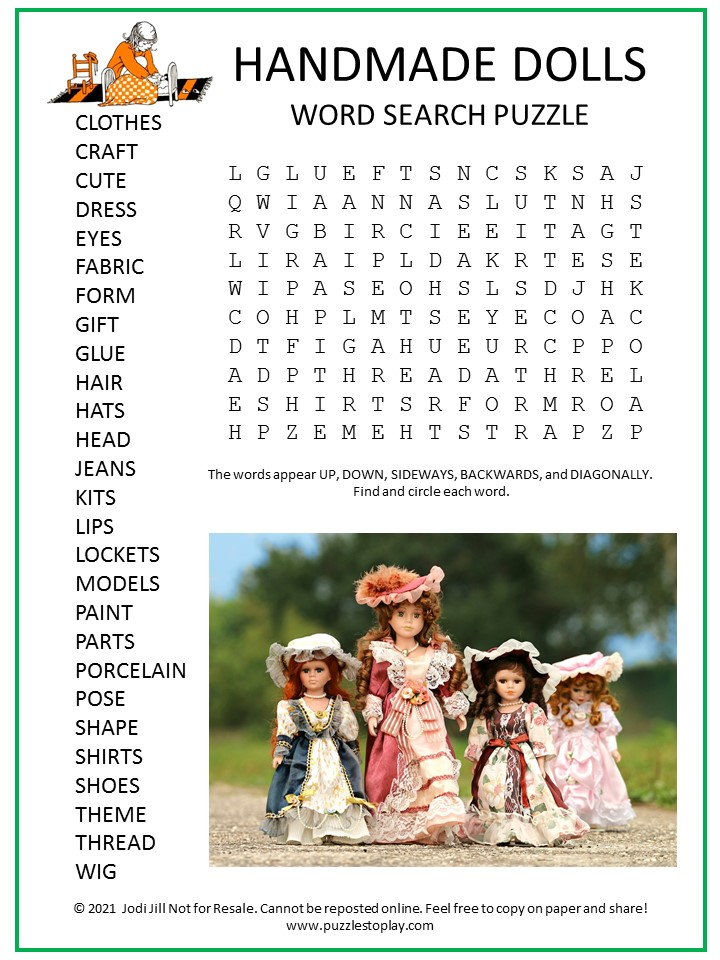 Handmade Dolls Word Search Puzzle