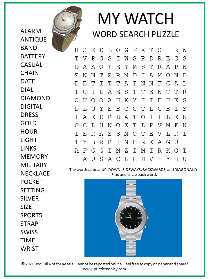 Watch Word Search Puzzle