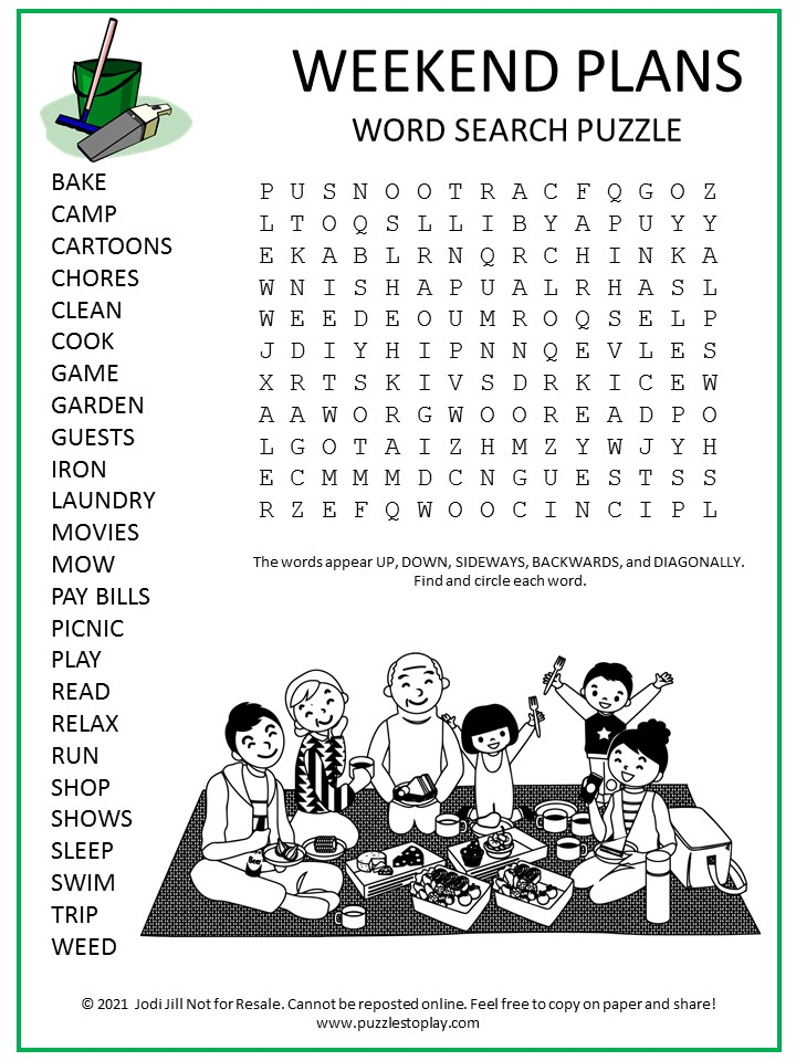 Weekend Plans Word Search Puzzle